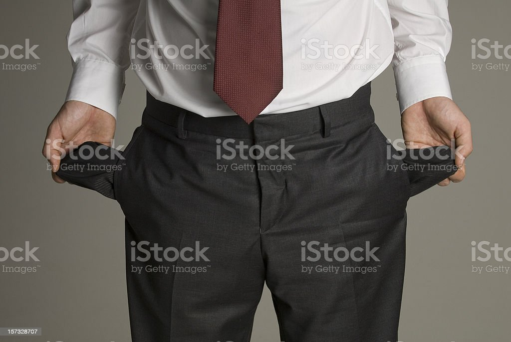 Man Holding Empty Pockets royalty-free stock photo