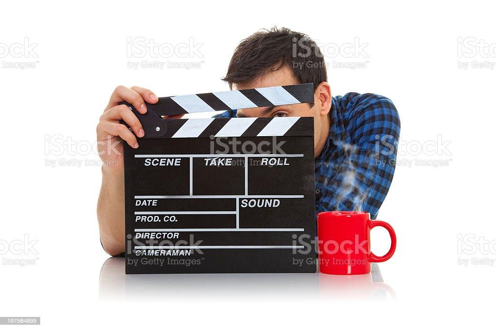 Man holding filmslate royalty-free stock photo