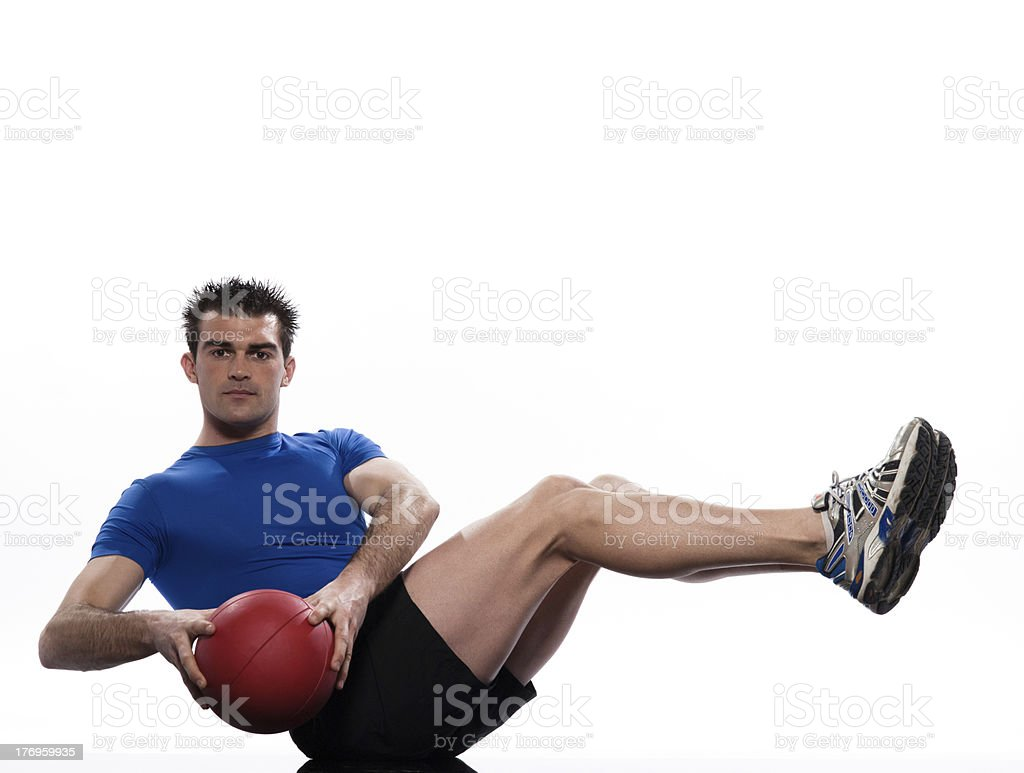 man holding fitness ball Workout Posture exercise stock photo