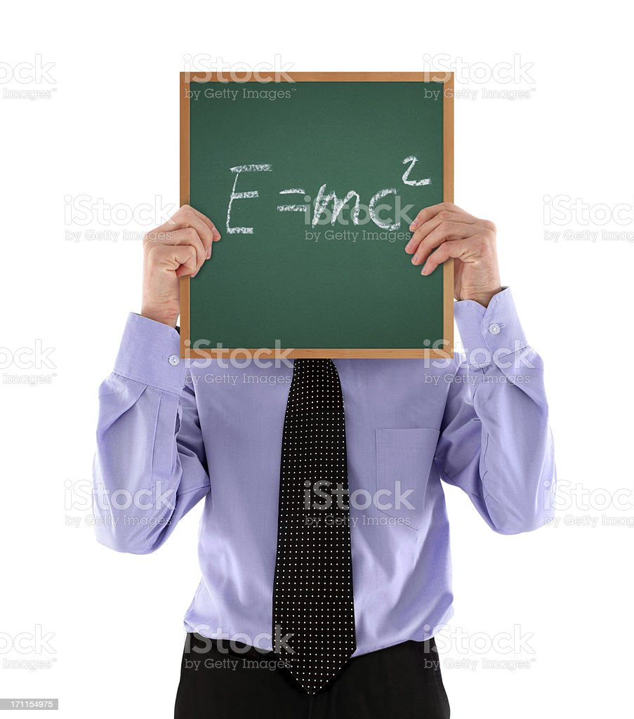 Man Holding Greenboard with E=mc2 formula royalty-free stock photo