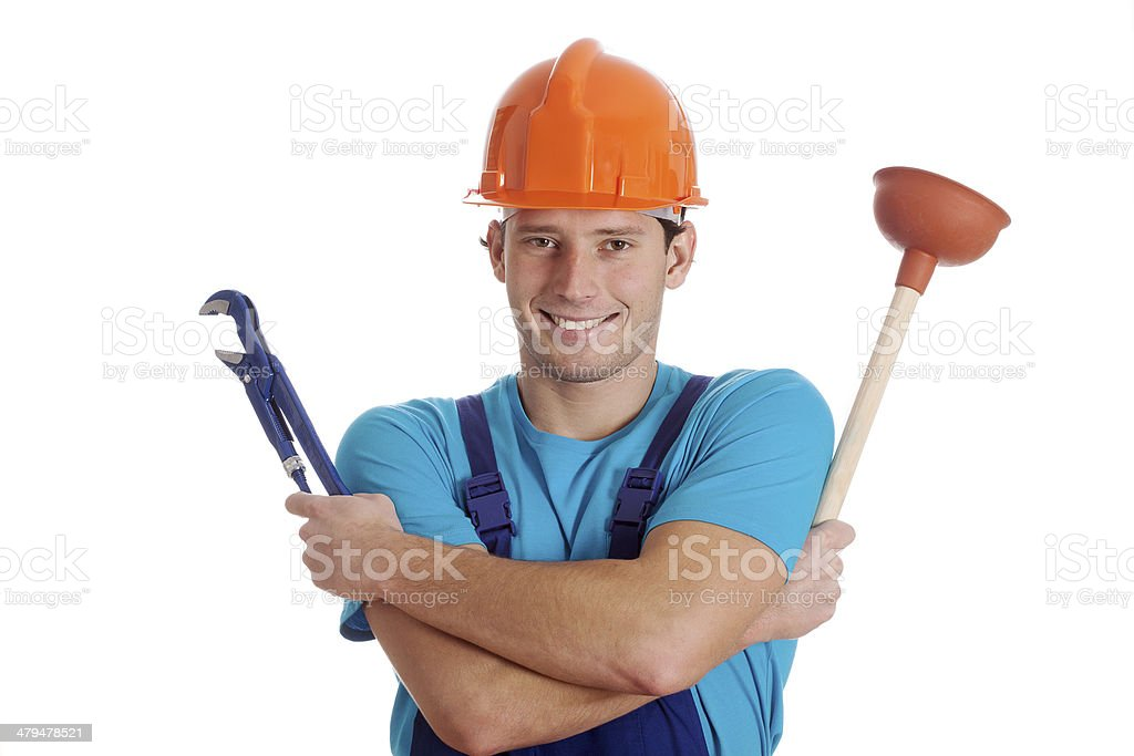 Man holding hydraulic tools royalty-free stock photo