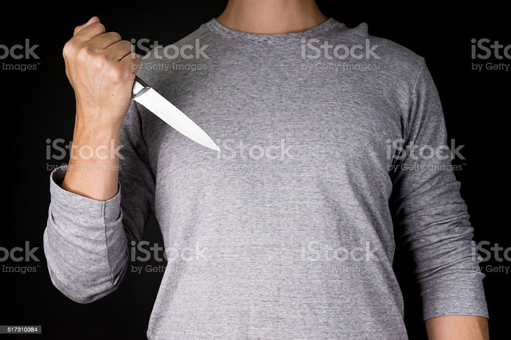 Man Holding Knife crime stock photo