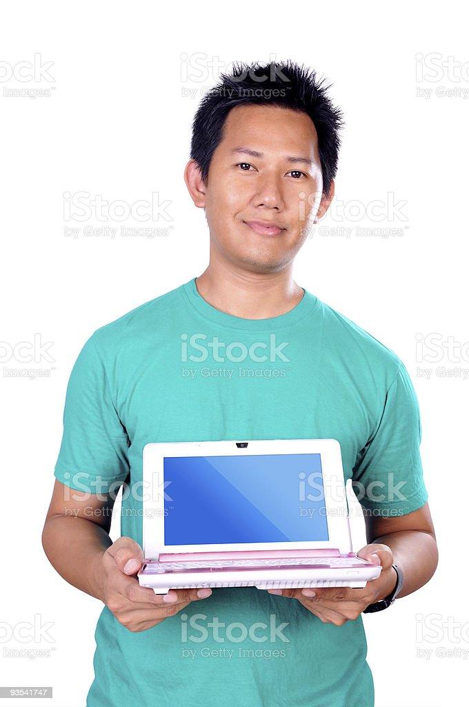 Man holding laptop stock photo