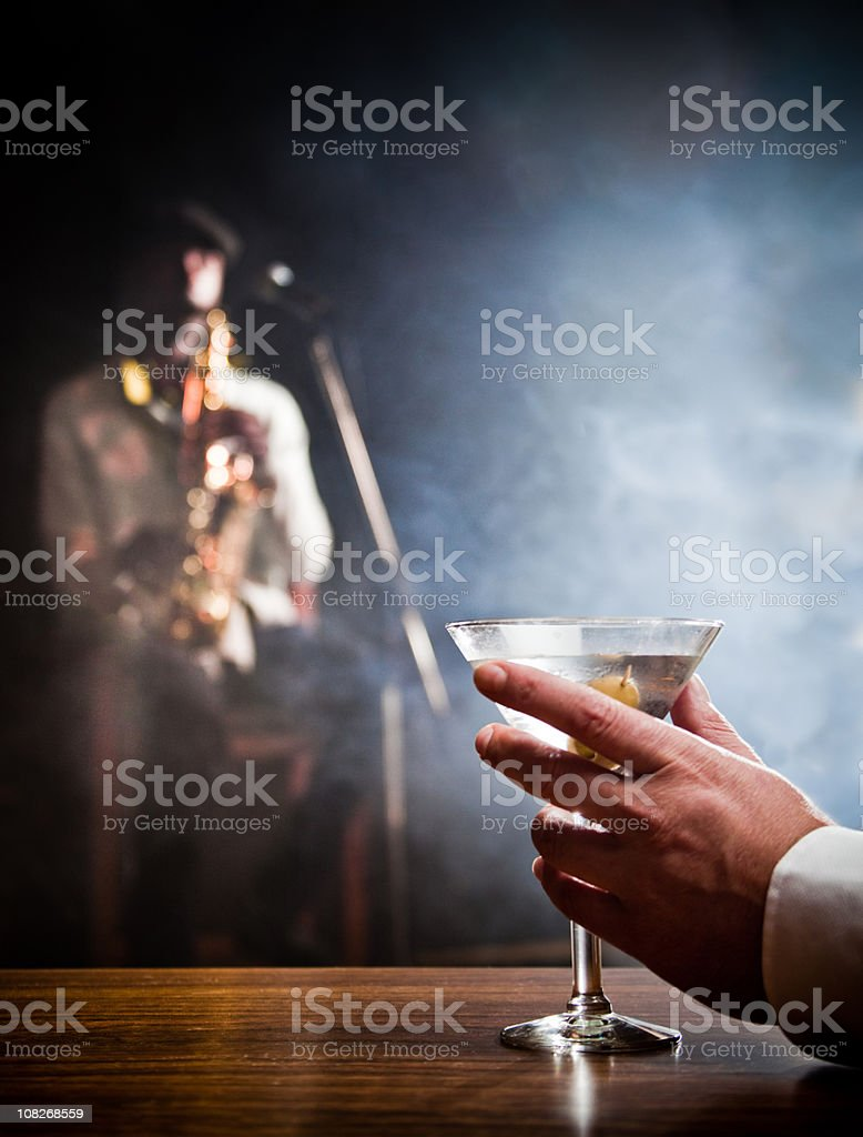 Man Holding Martini stock photo