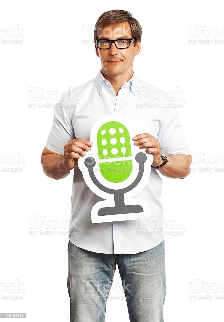 Man holding microphone sign isolated on white background. royalty-free stock photo