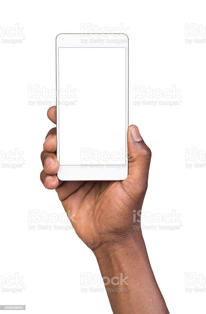 Man holding mobile smart phone stock photo