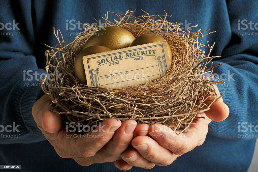 Man Holding Nest With Golden Eggs And Social Security Card stock photo