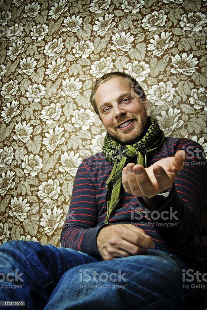 Man holding out his hand royalty-free stock photo