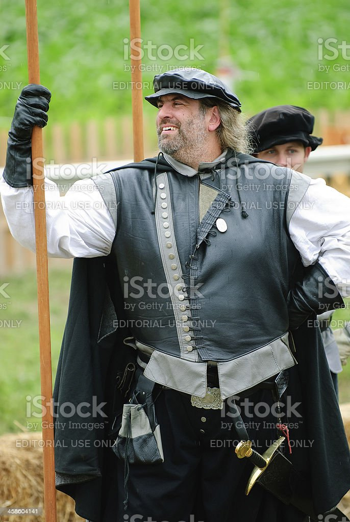 Man Holding Pike at Renaissance Faire royalty-free stock photo
