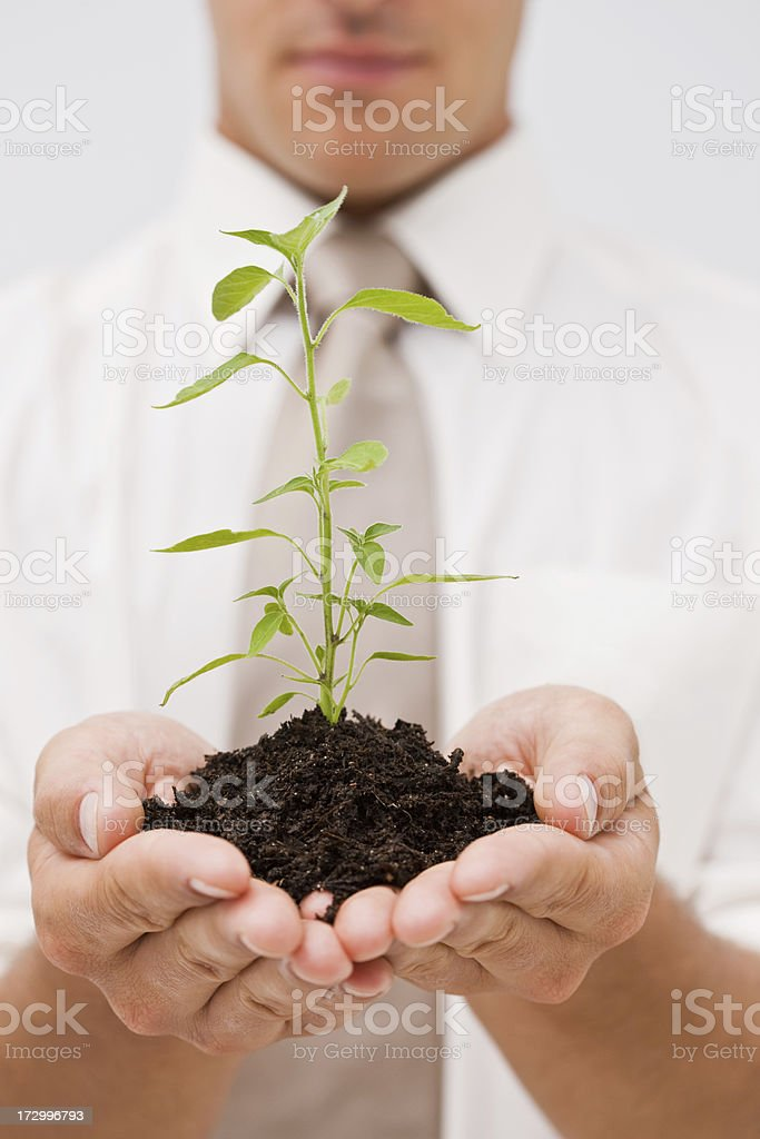 Man holding plant royalty-free stock photo