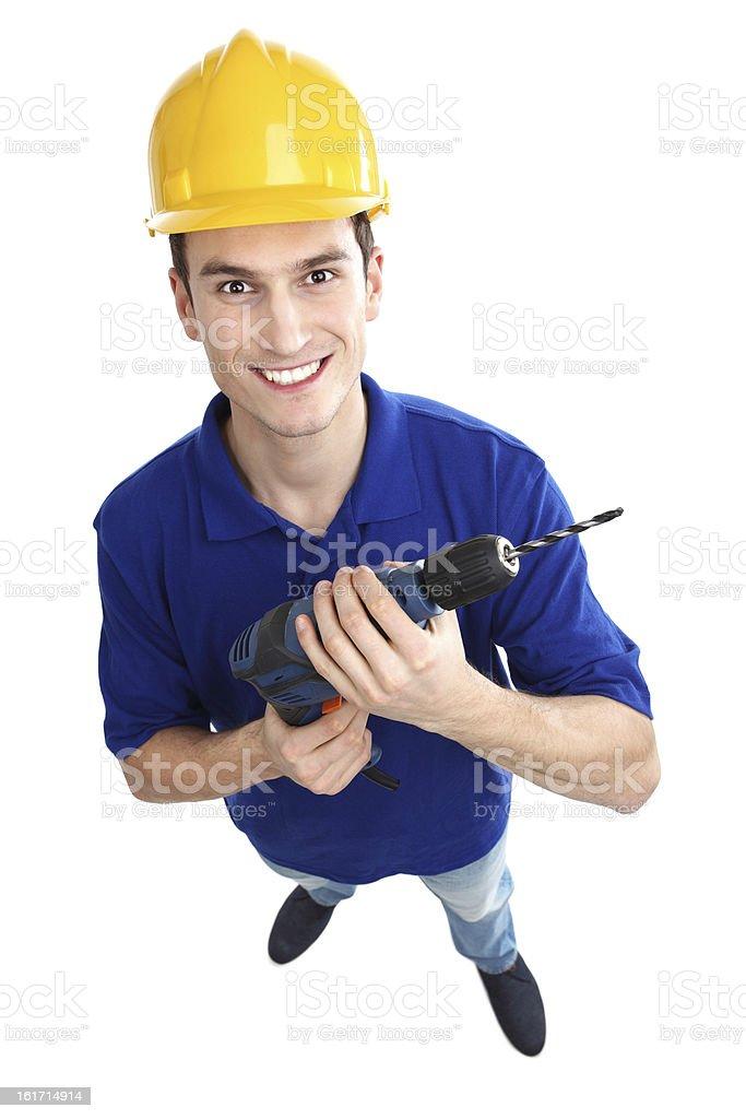 Man holding power drill royalty-free stock photo