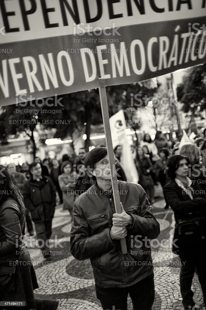 Man Holding Protest Sign royalty-free stock photo