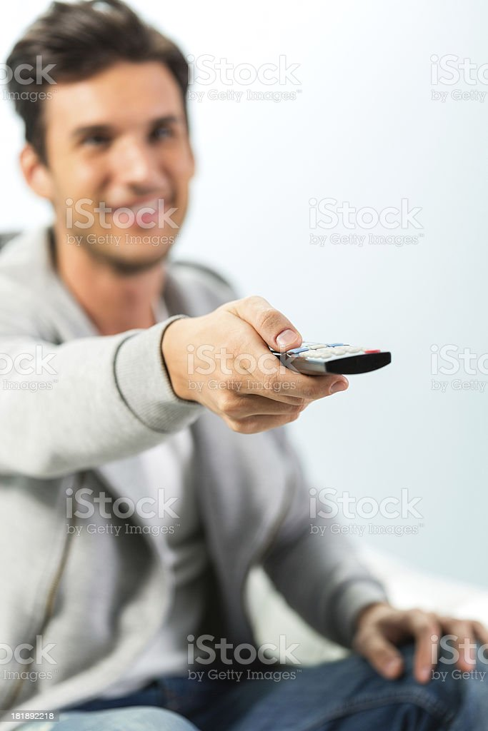 Man holding remote controler royalty-free stock photo
