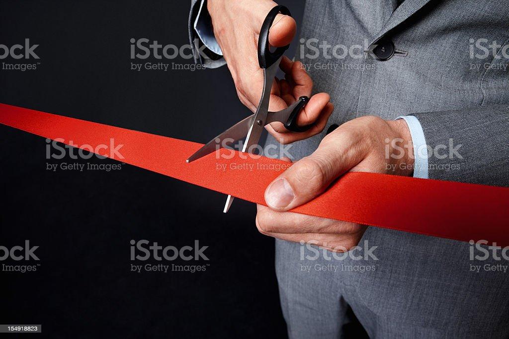 Man holding ribbon royalty-free stock photo