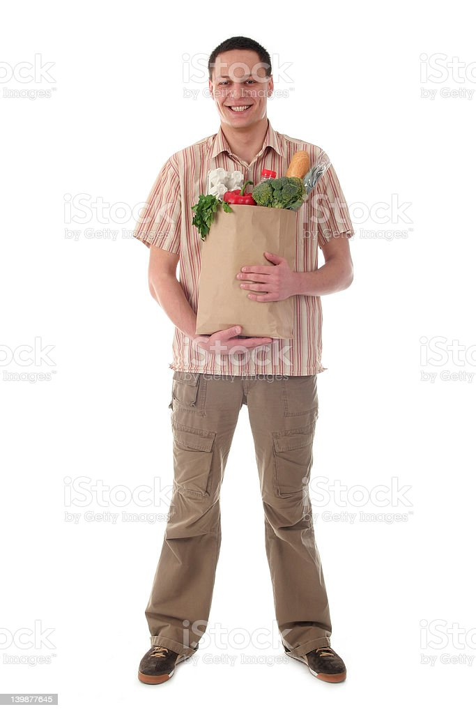 Man holding shopping bag stock photo
