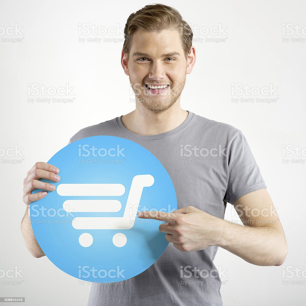 man holding sign stock photo