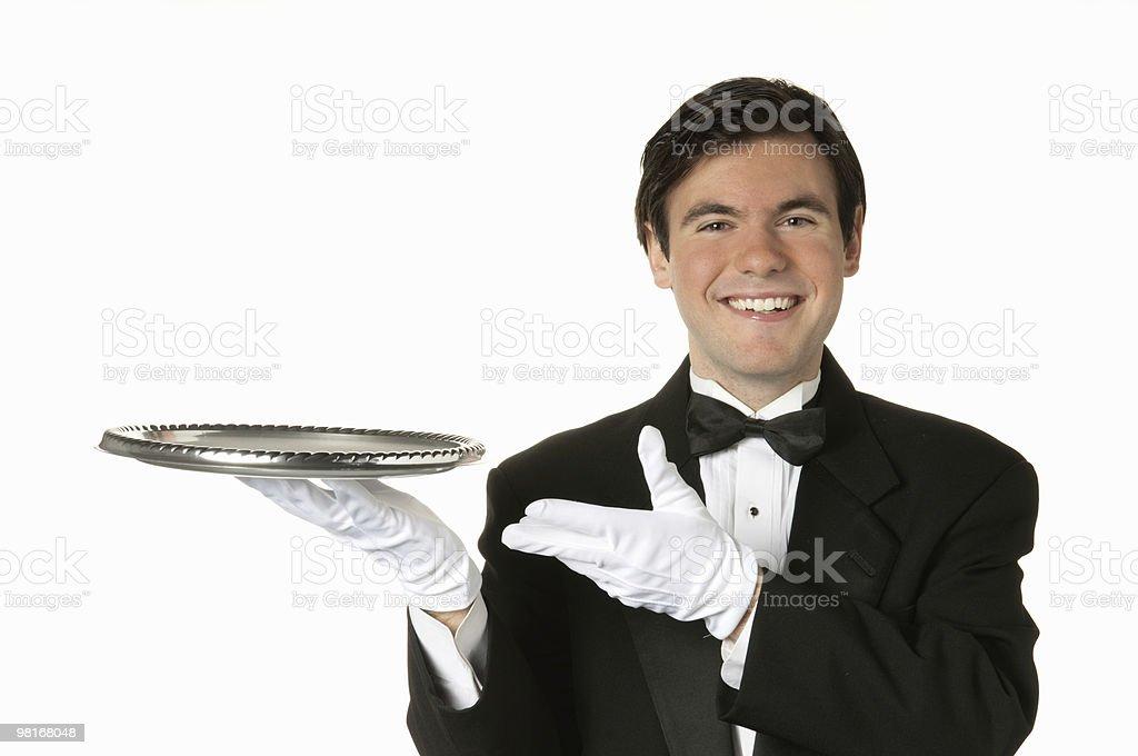 man holding silver tray royalty-free stock photo
