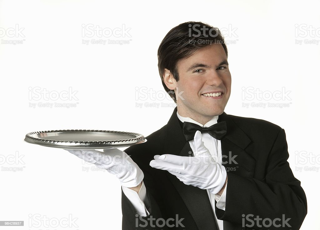 man holding silver tray stock photo