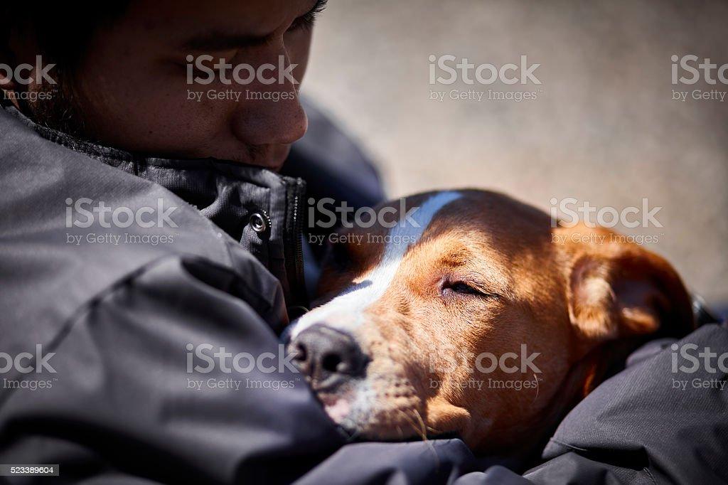 man holding sleepy puppy dog closeup selective focus stock photo