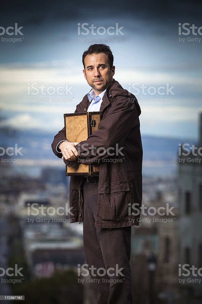 Man Holding Small Briefcase royalty-free stock photo