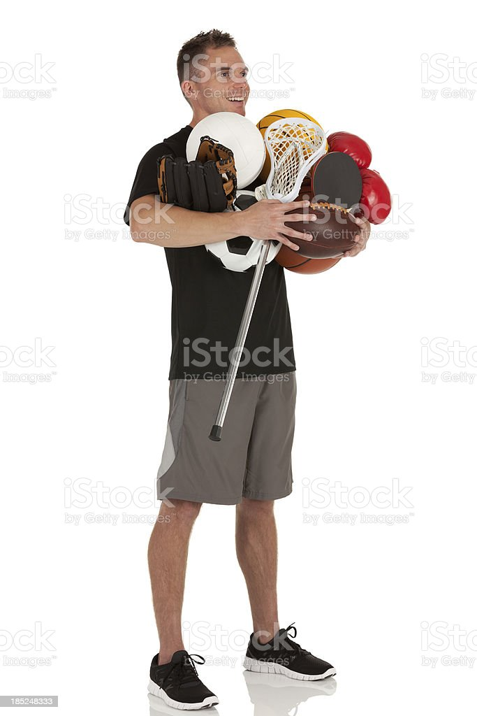Man holding sports equiments royalty-free stock photo
