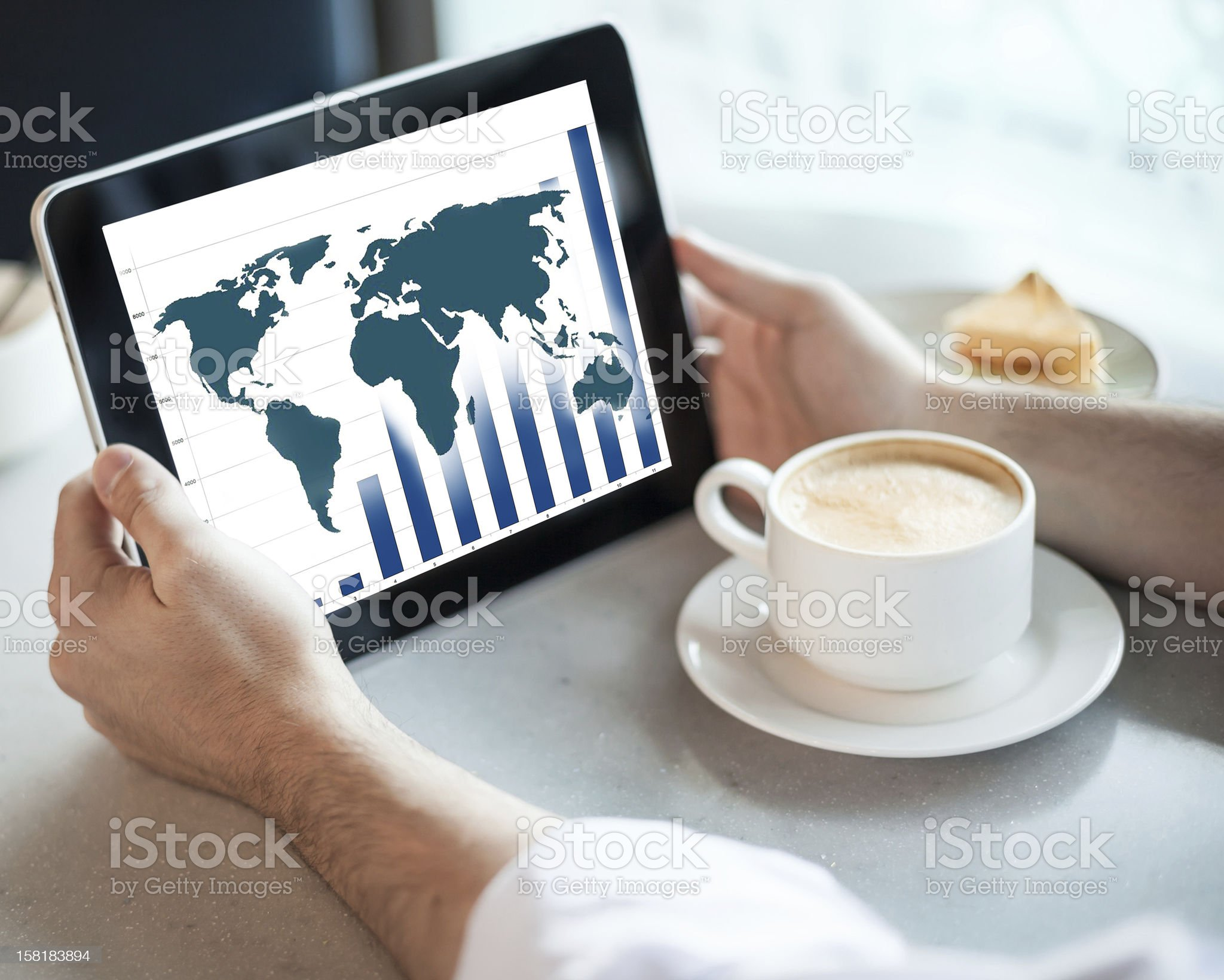 Man holding tablet computer in cafe royalty-free stock photo