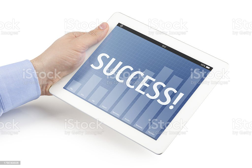 Man holding tablet computer with business interface. royalty-free stock photo