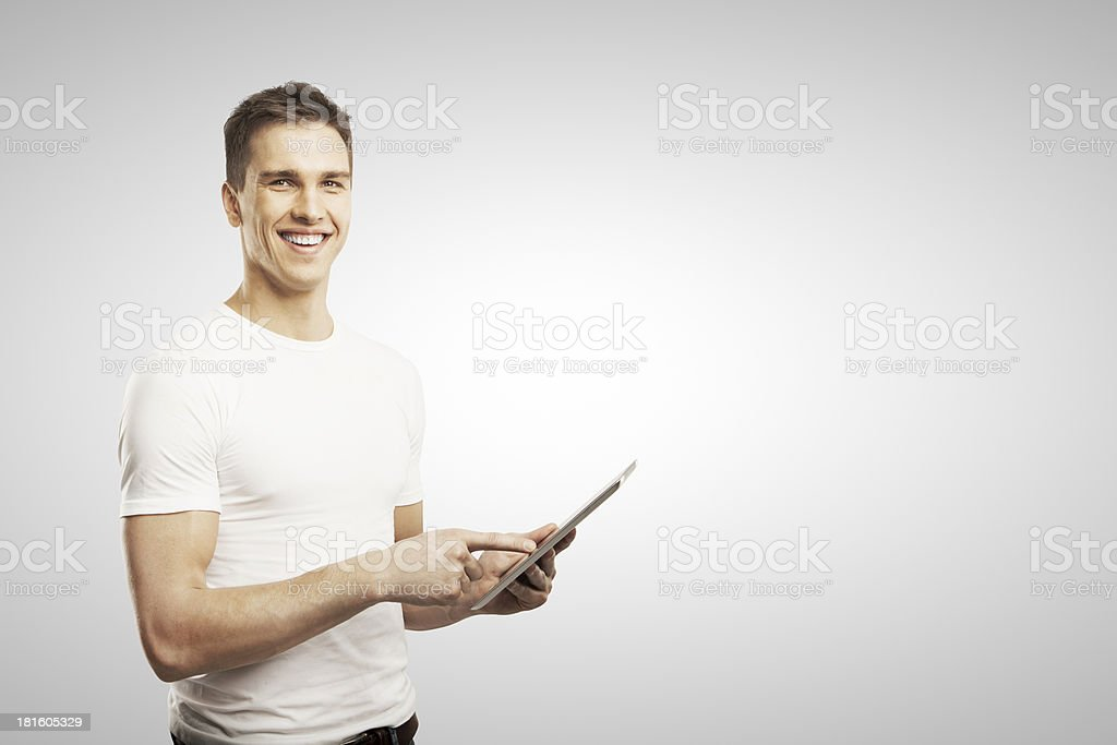 man holding tablet royalty-free stock photo
