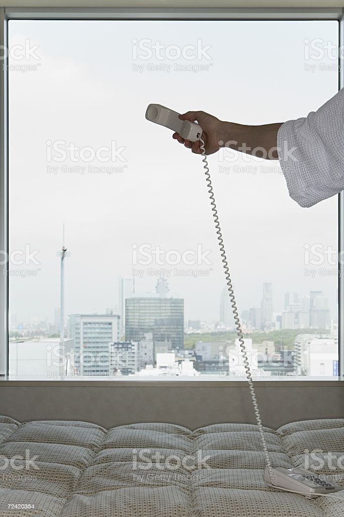 Man holding telephone royalty-free stock photo