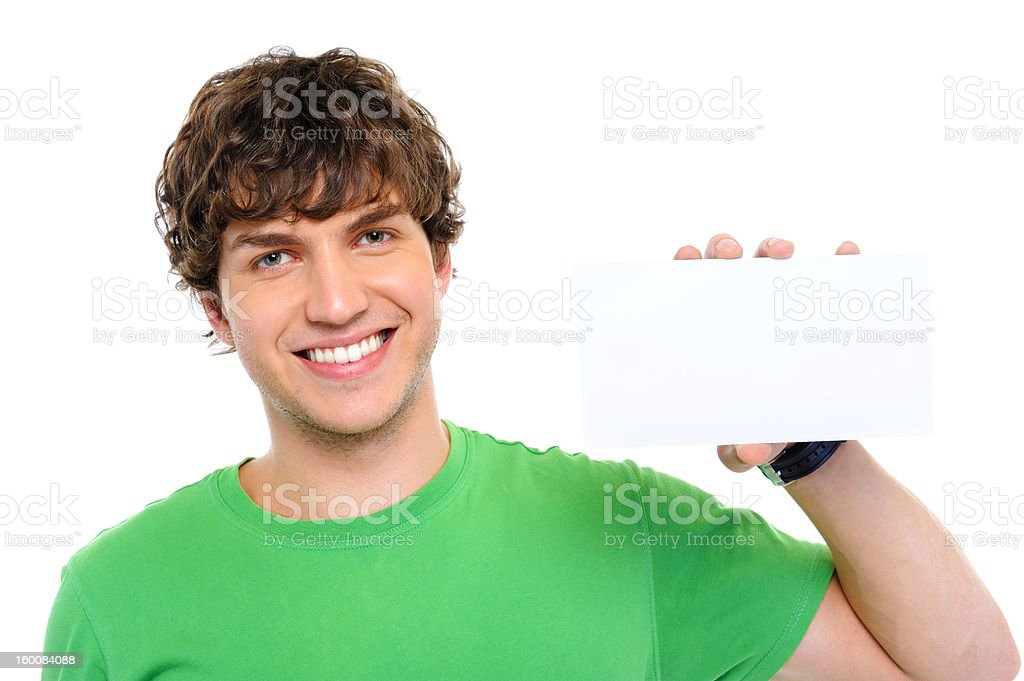 man holding the blank card royalty-free stock photo