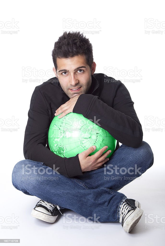 man holding the world in his hands royalty-free stock photo
