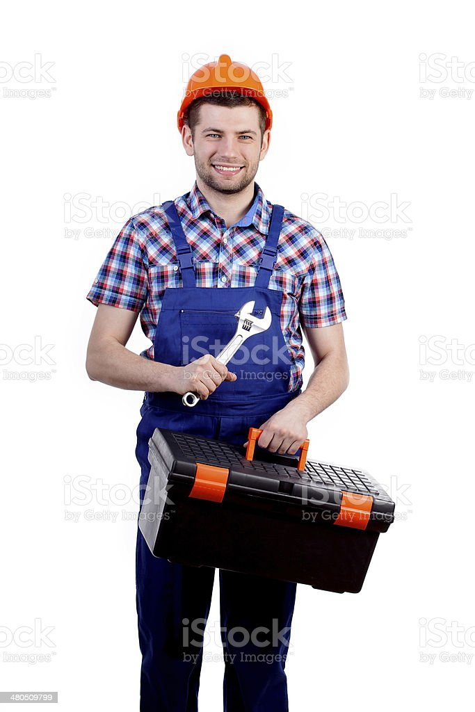 Man holding toolbox and wrench royalty-free stock photo