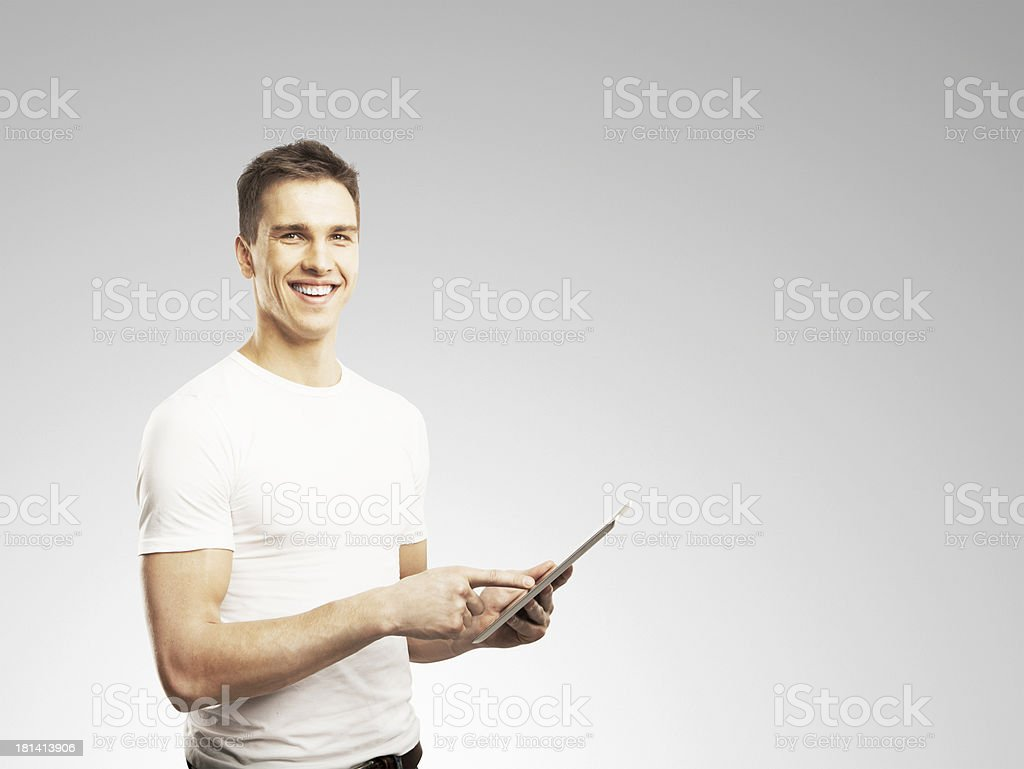 man holding touch pad royalty-free stock photo