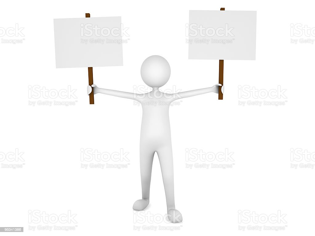 Man holding two blank sign boards stock photo