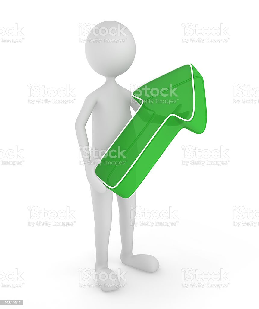 3D man holding up arrow royalty-free stock photo