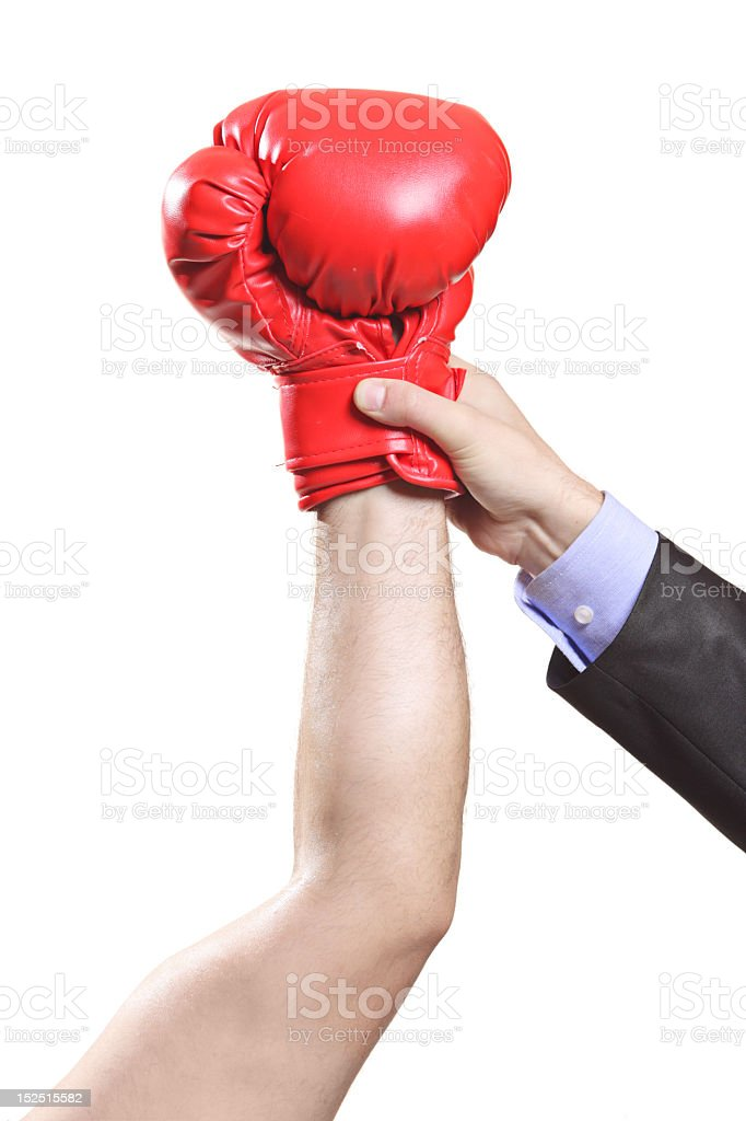 Man holding up winner with the boxing glove stock photo