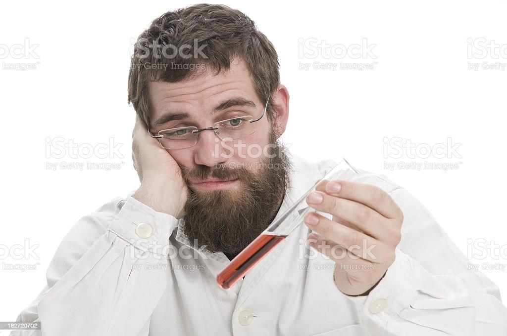 man holding vial stock photo
