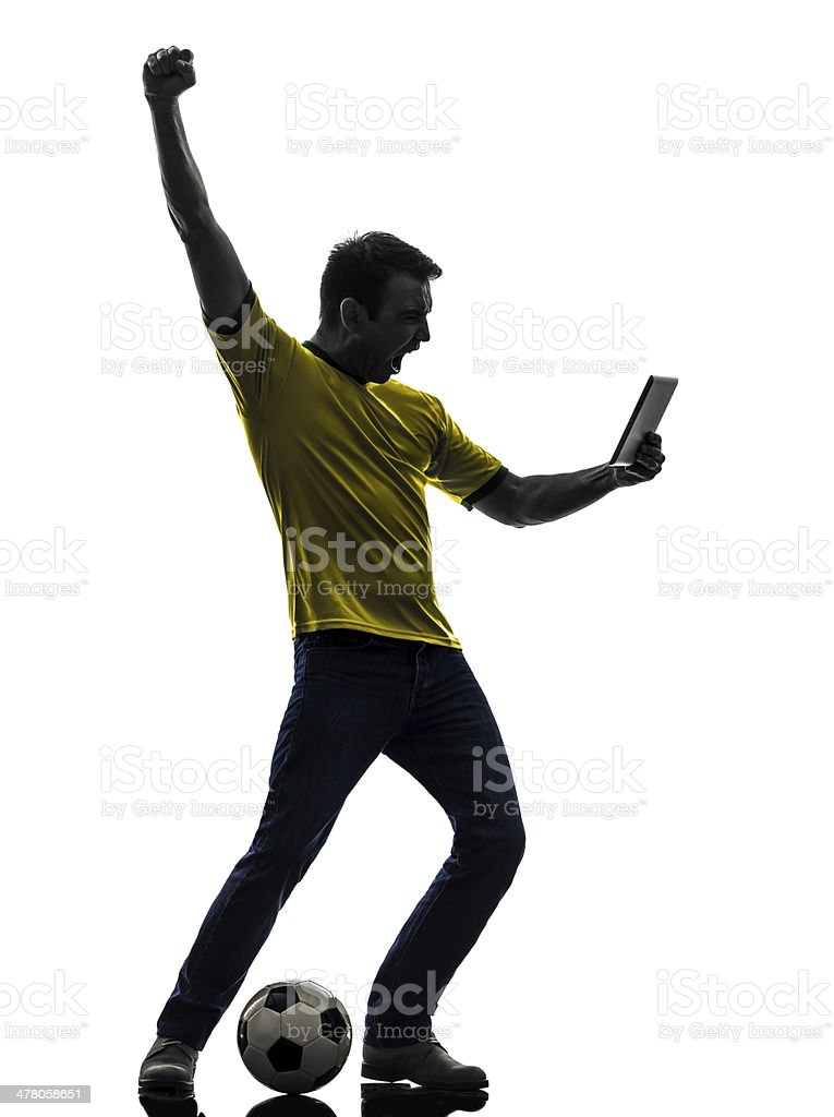 man holding watching digital tablet silhouette royalty-free stock photo