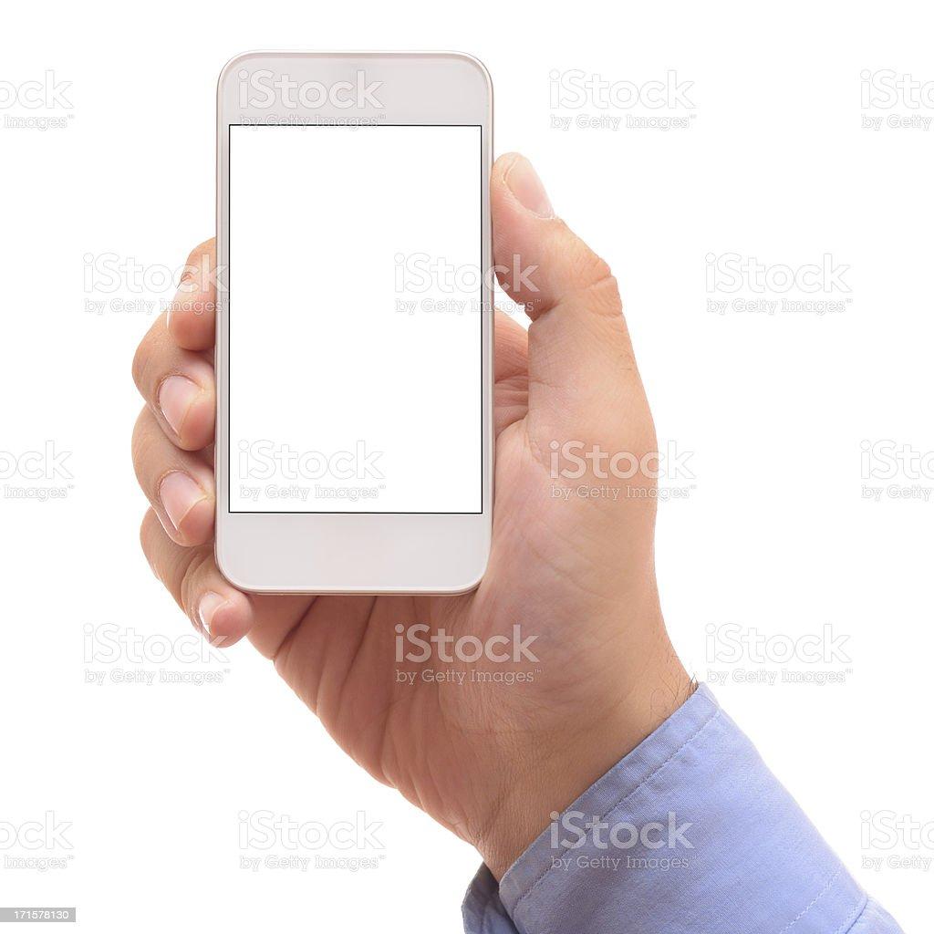 Man holding white screen smart phone stock photo