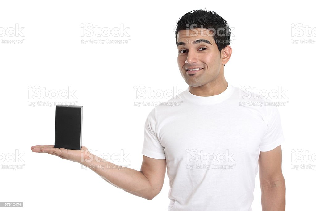 Man holding your merchandise product royalty-free stock photo