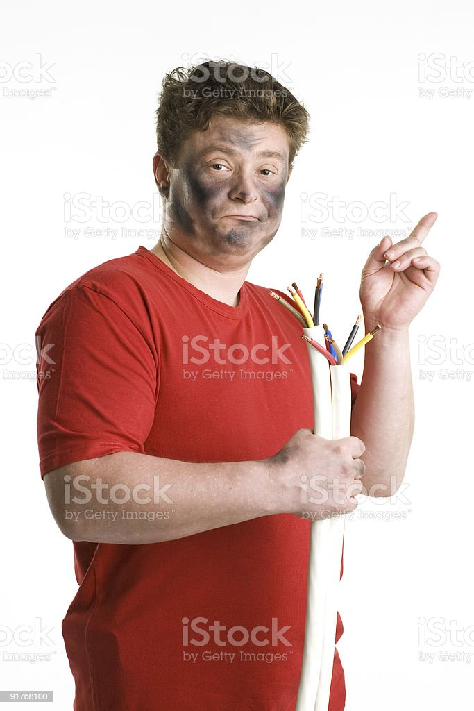 Man holds a cable. royalty-free stock photo