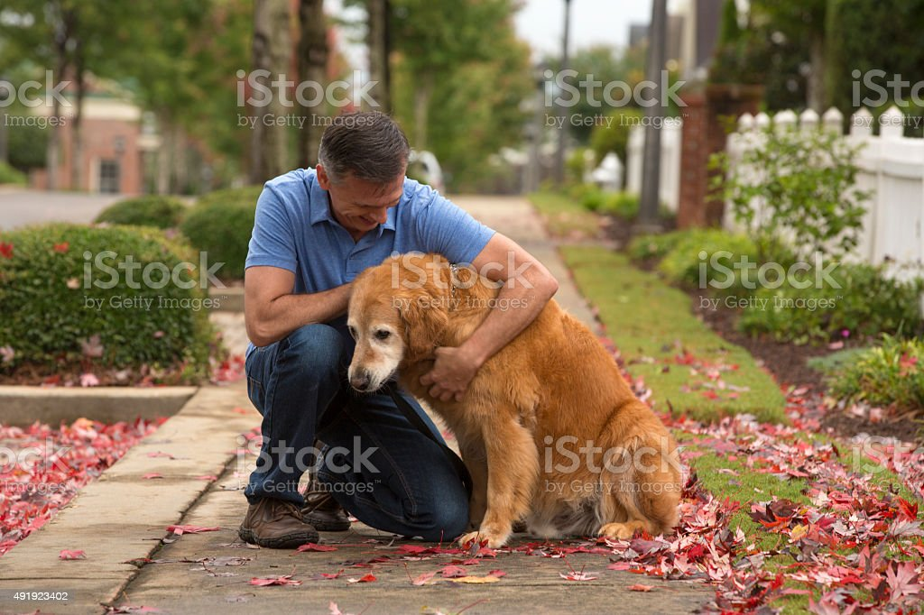 man holds and comforts an old dog stock photo