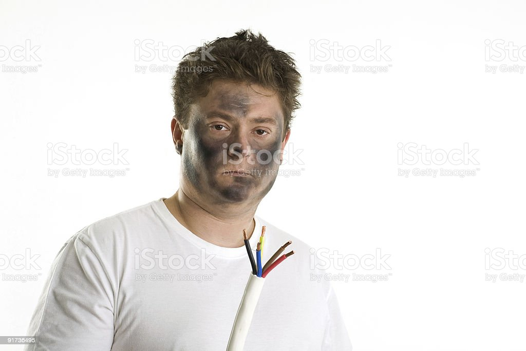 Man holds cable. stock photo