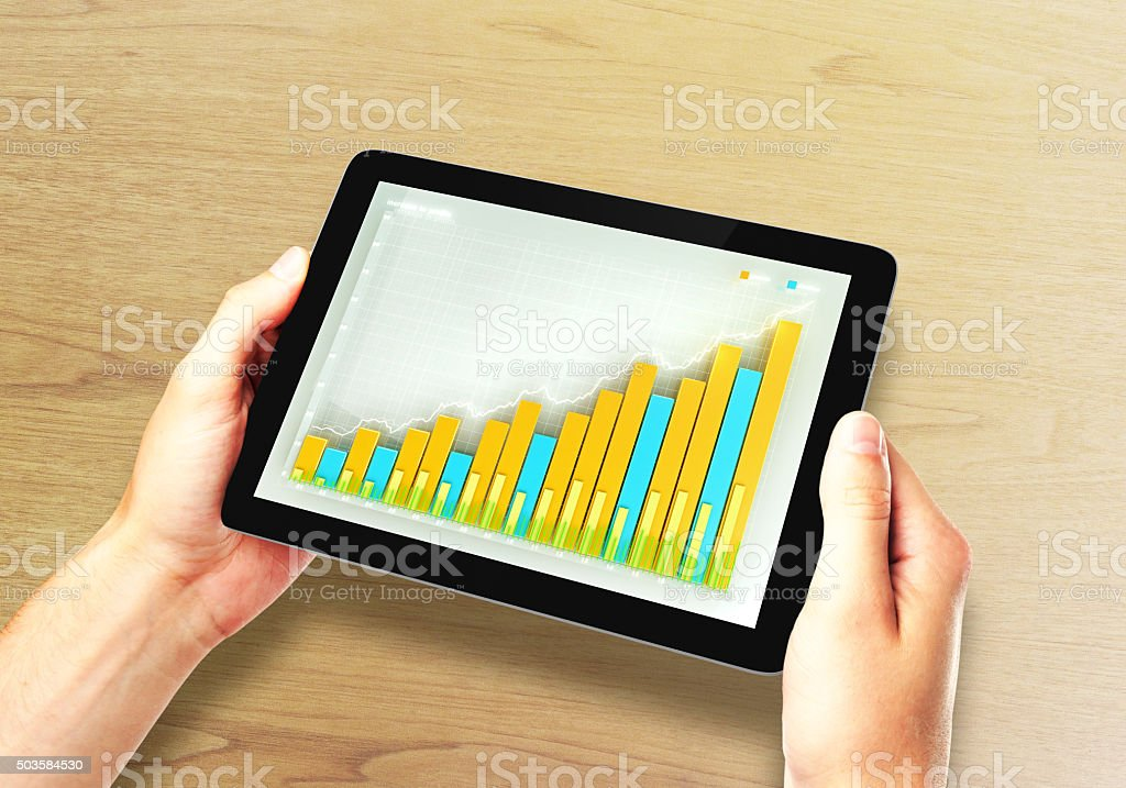 Man holds digital tablet with business chart on a screen vector art illustration