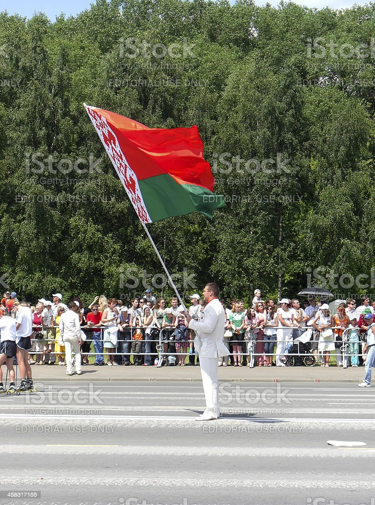 Man holds flag of Belarus royalty-free stock photo