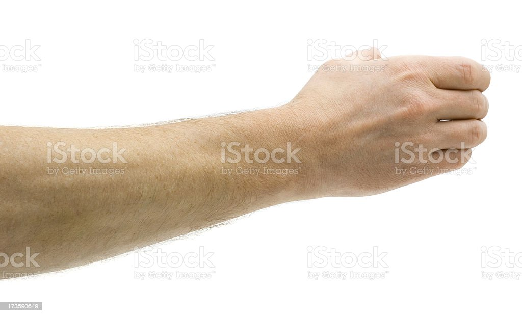 Man Holds Invisible Bottle stock photo