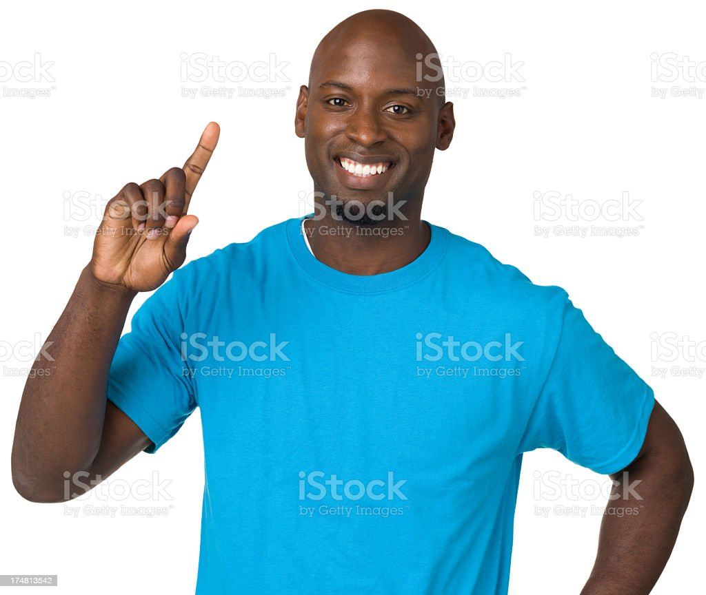 Man Holds Up One Finger royalty-free stock photo