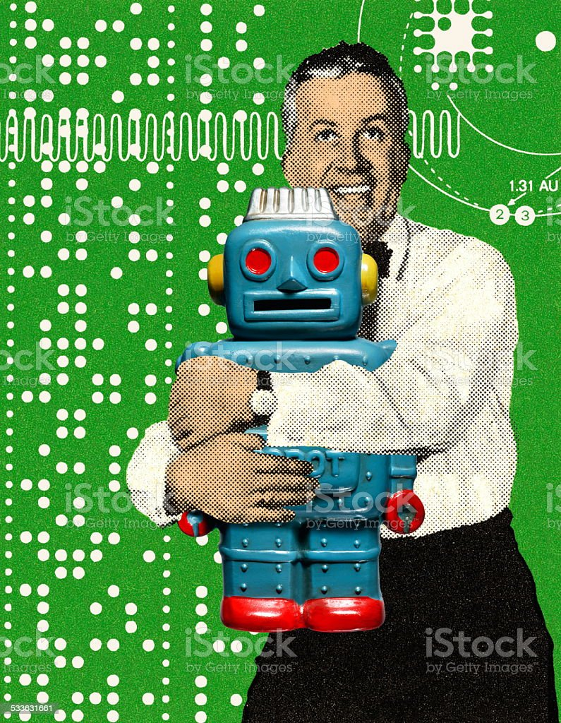 Man Hugging a Toy Robot stock photo