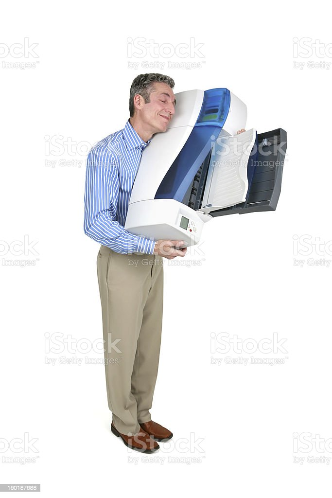 Man Hugging Inkjet Printer with Clipping Path stock photo