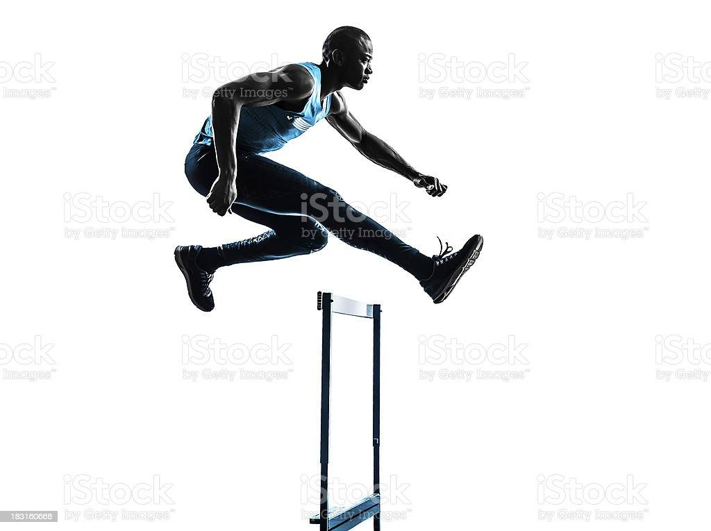 man hurdler runner silhouette stock photo